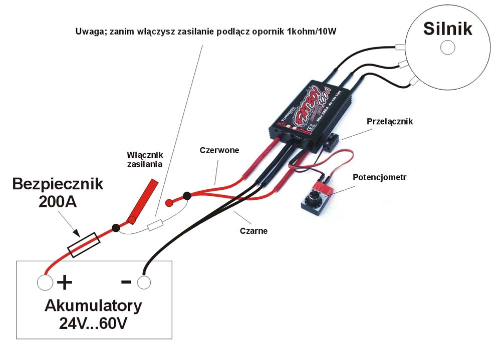 Schemat podłączenia silnika z sterownikiem