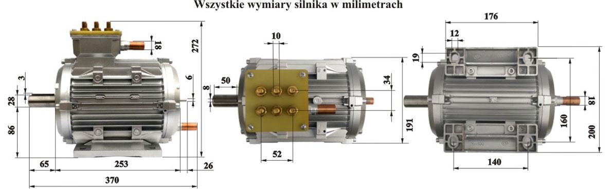 Silnik Indukcyjny 100kW - wymiary