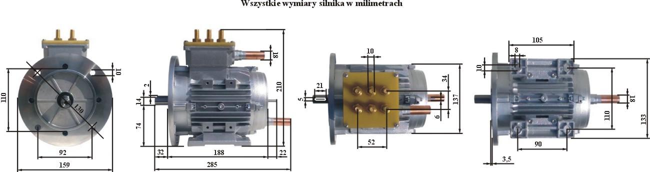 Silnik Indukcyjny 24kW - wymiary