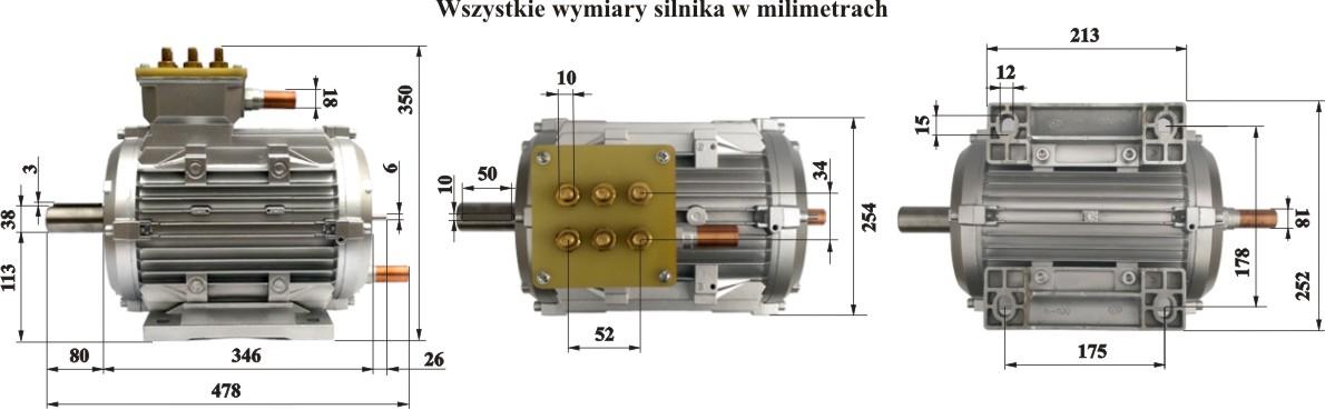 Silnik Indukcyjny 250kW - wymiary
