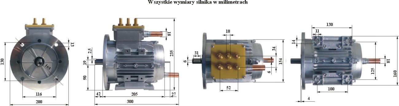 Silnik Indukcyjny 38kW - wymiary