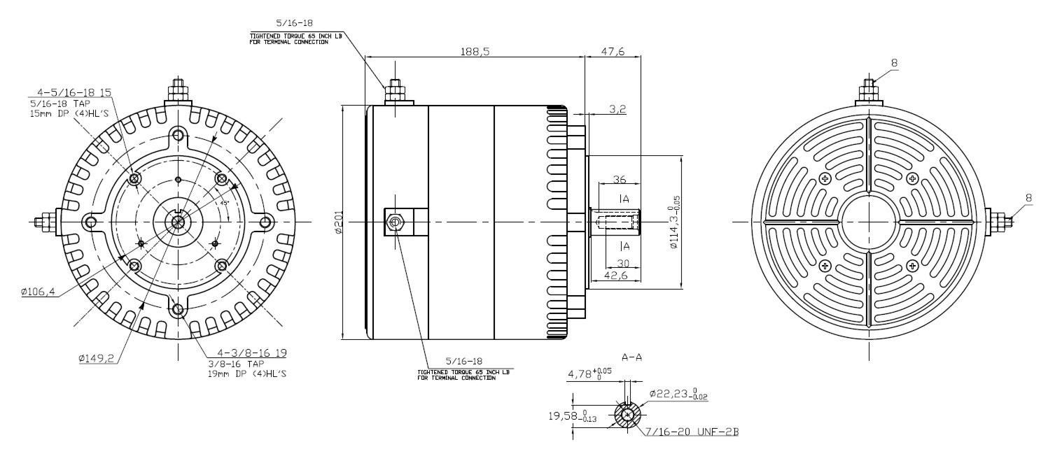 Silnik 20kW - wymiary